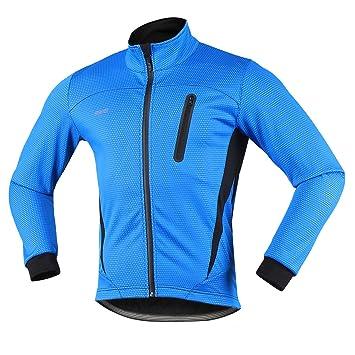Arsuxeo 16H Hombres Invierno Térmico Vellón Ciclismo Chaqueta MTB Bicicleta Abrigo Cycling Thermal Fleece Jacket