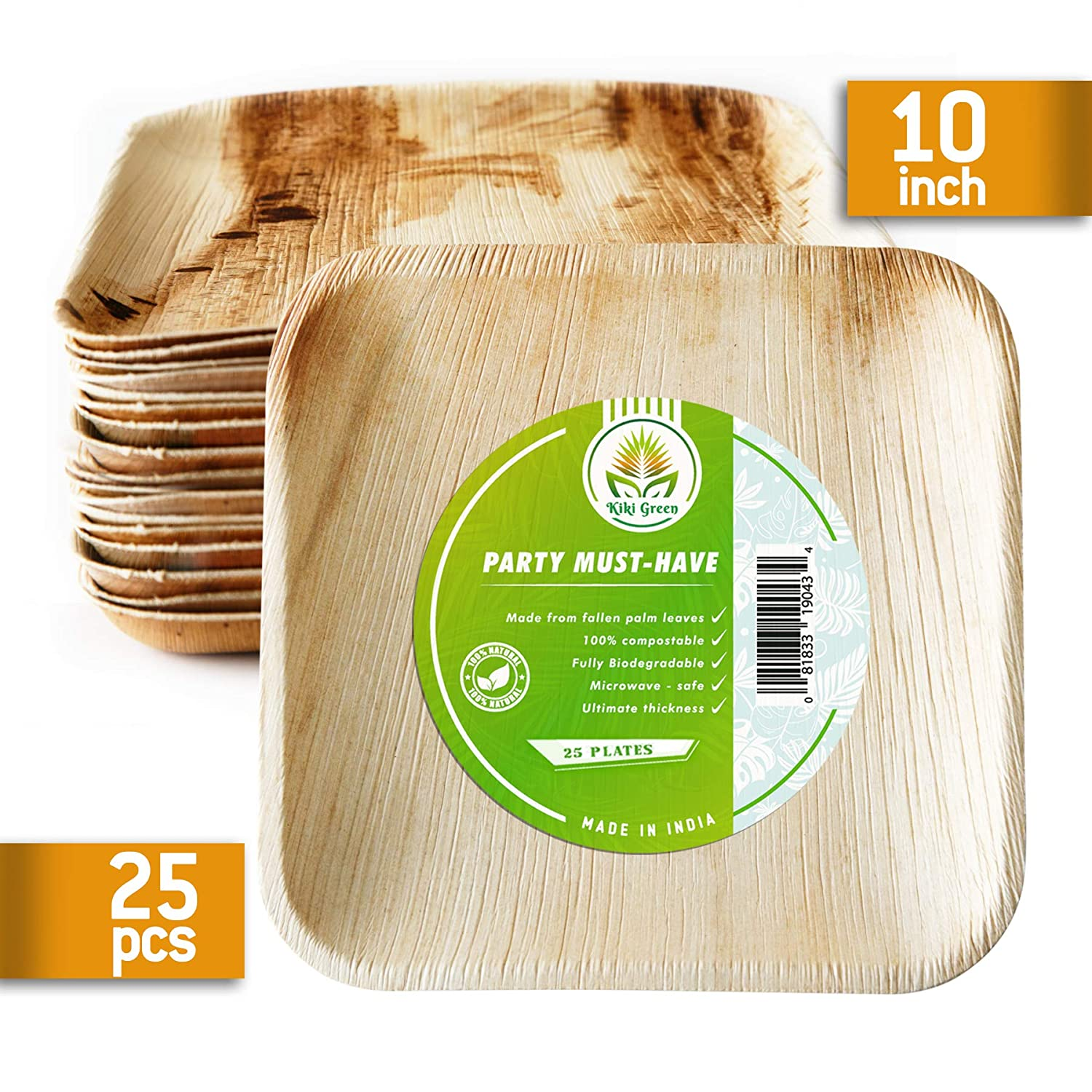 Compostable Plates 9 5 inch square 25pcs Palm Leaf Plates-our Biodegradable  Plates Are Top Quality, We Use Eco Friendly Products For Party
