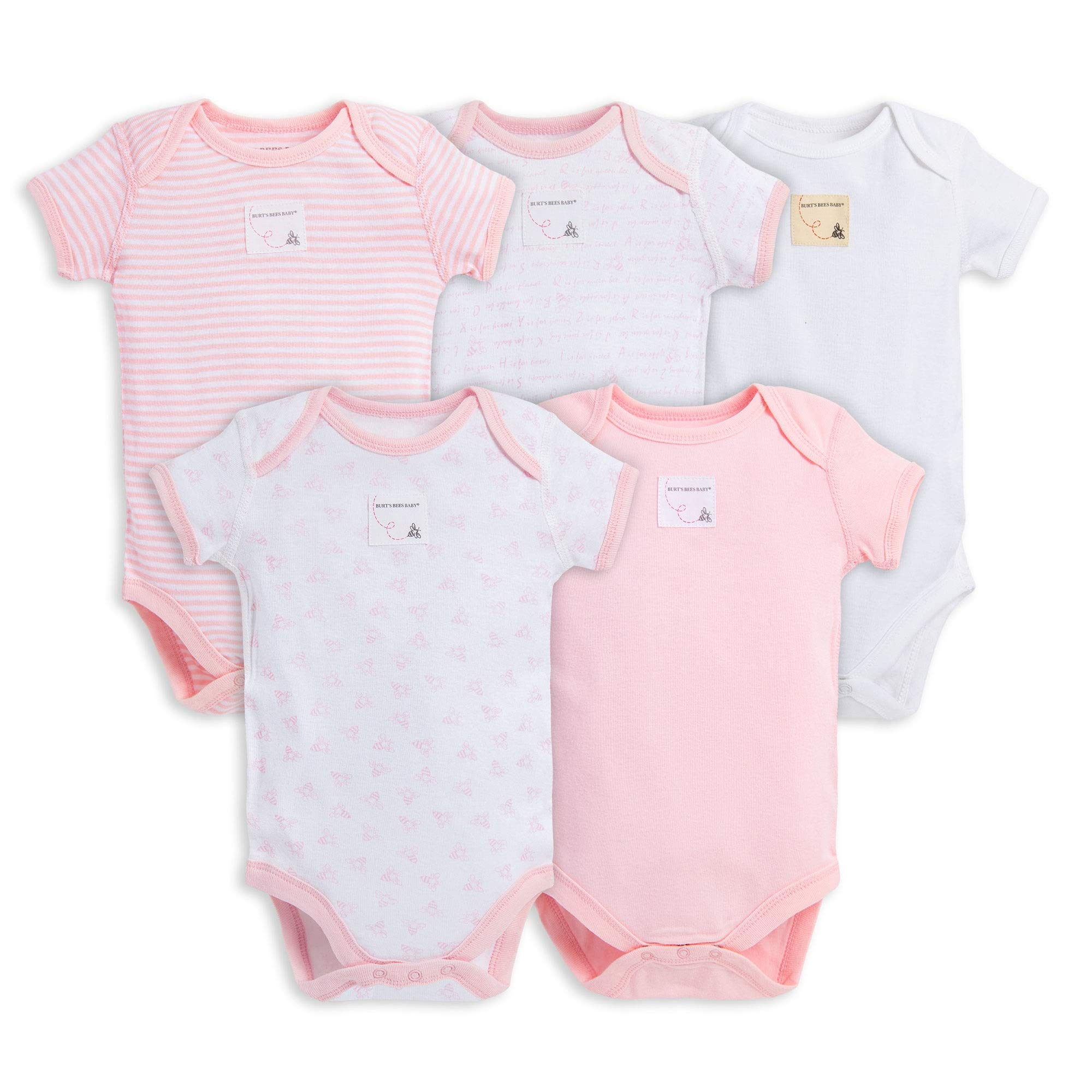 Burt's Bees Baby Unisex Baby Bodysuits, 5-Pack Short & Long Sleeve One-Pieces, 100% Organic Cotton, Blossom Prints, 12 Months