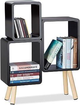 MDF Cube Regal rund mit 4 Beinen Relaxdays 3-teiliges Regalsystem HBT: 69 x 52,5 x 18 cm schwarz Würfelregal Holz 10021924/_46 Würfelregal Holz