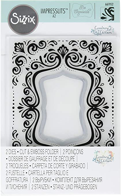 Sizzix Impresslits Embossing Folder Garden Frame by Courtney Chilson 661955