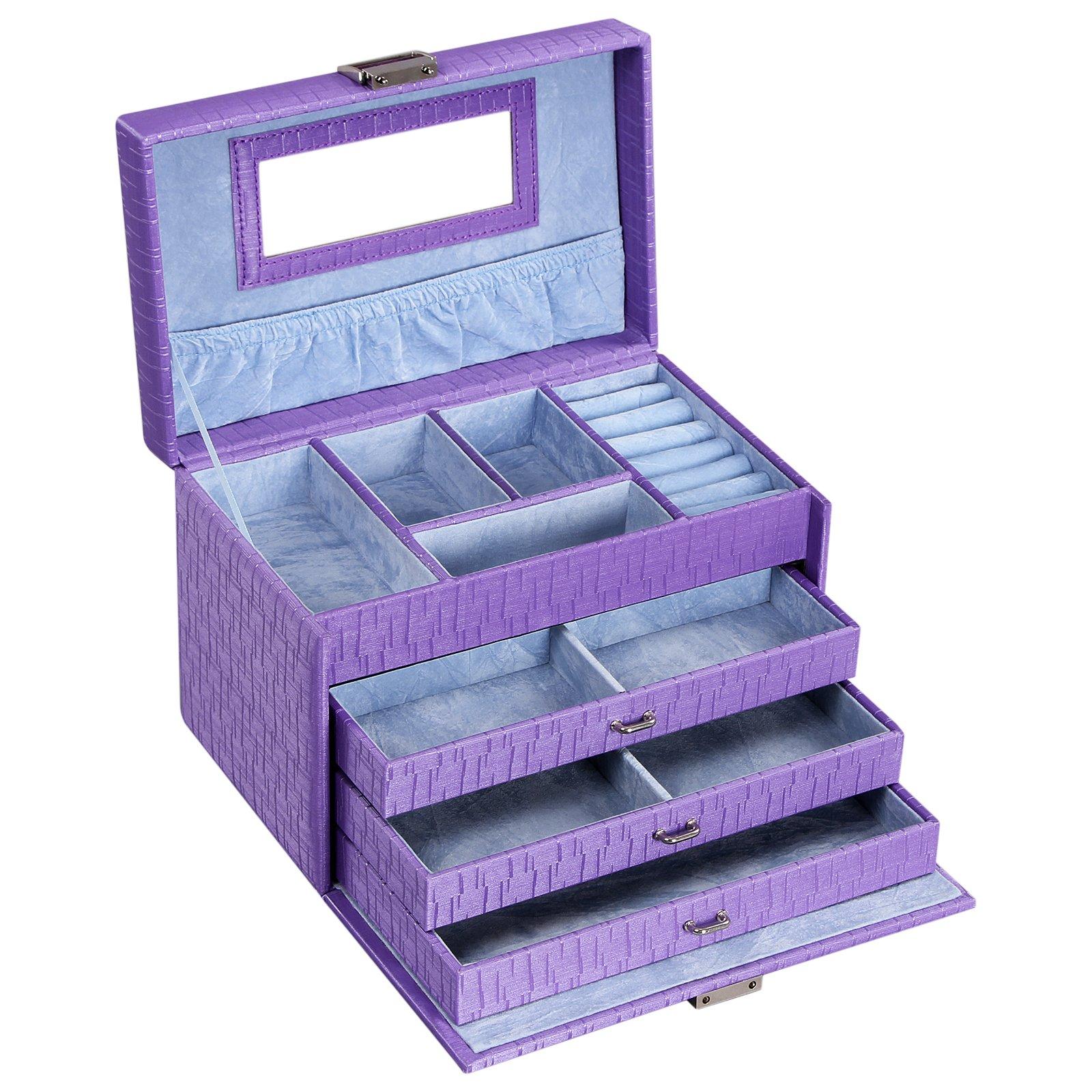 SONGMICS Girls Jewelry Box Lockable Jewelry Case Purple Textured Organizer UJBC133