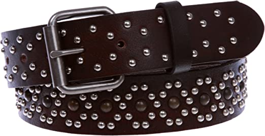 """1 1//2/"""" Snap On Antique Silver Circle Metal Studded Distressed Leather Belt"""