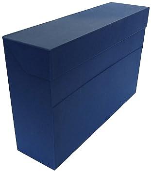 Elba 100580261 - Caja de transferencia de cartón forrado con tela, 10 cm, color azul: Amazon.es: Oficina y papelería