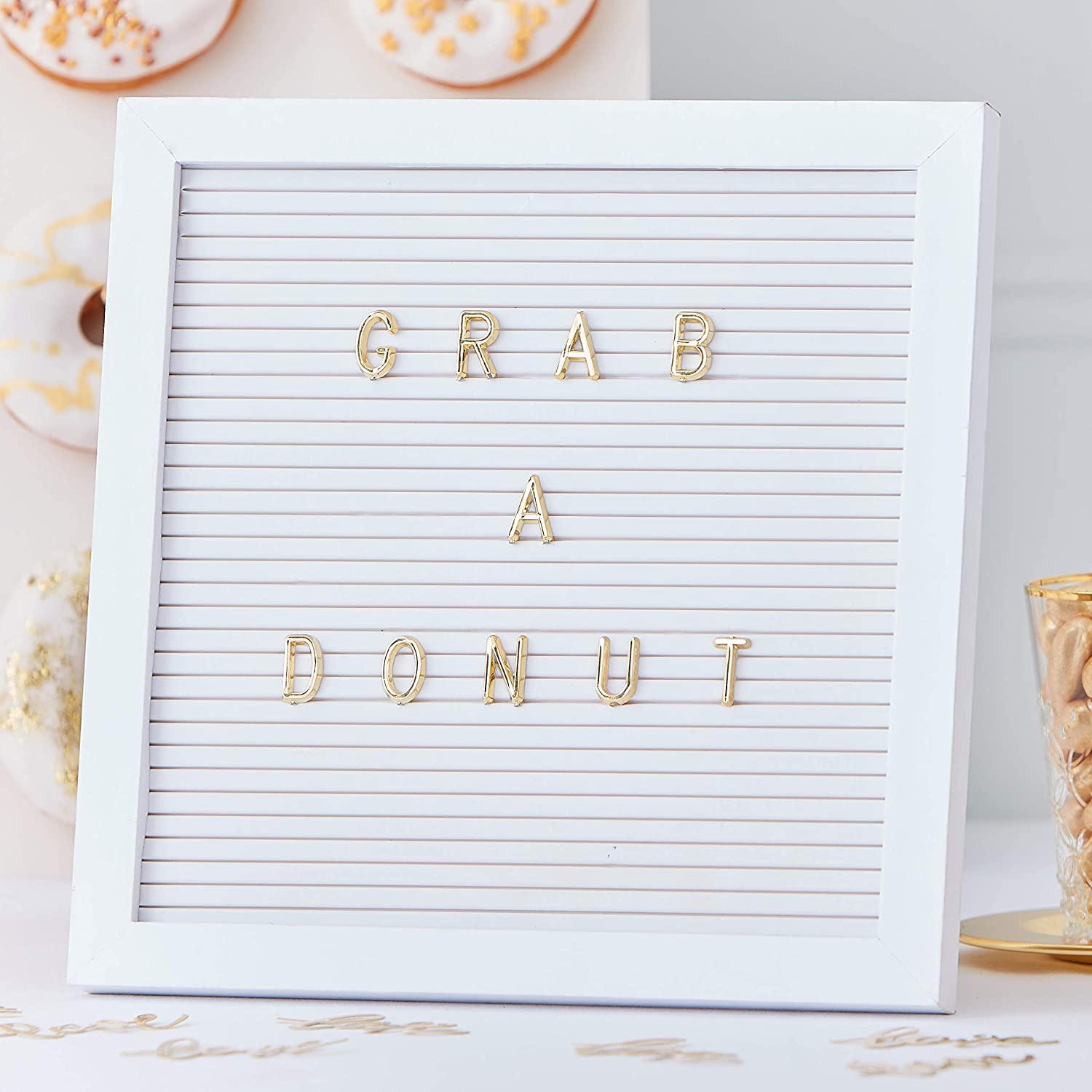 Ginger Ray White Peg Board with Gold Letters for Weddings Parties 161 Characters