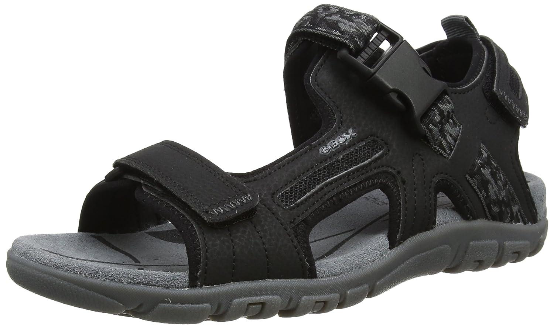 Geox Uomo Sandal Strada a, Sandalia con Pulsera para Hombre 40 EU|Negro (Black)