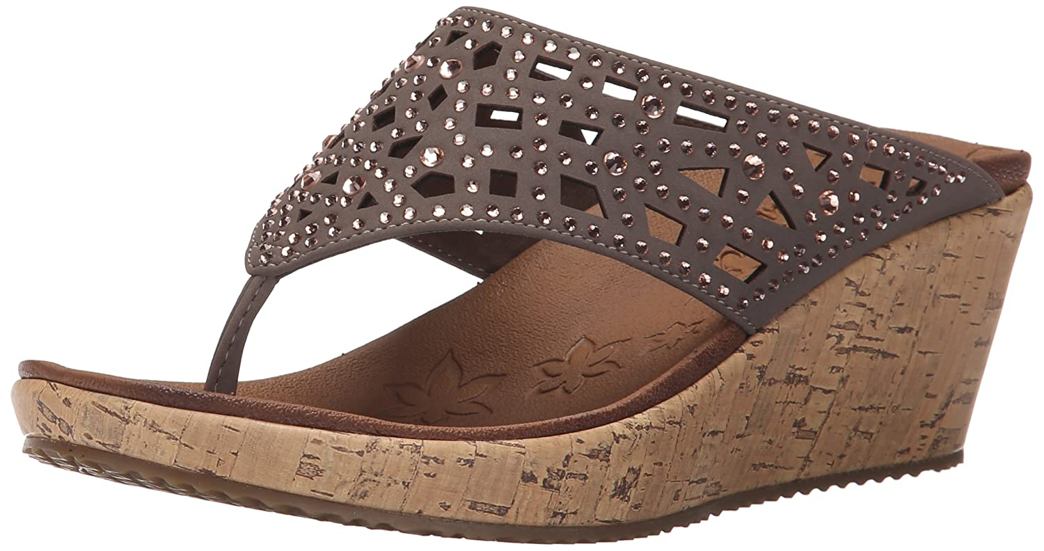 Skechers Wedge Thong Sandals w Rhinestones Dazzled Page