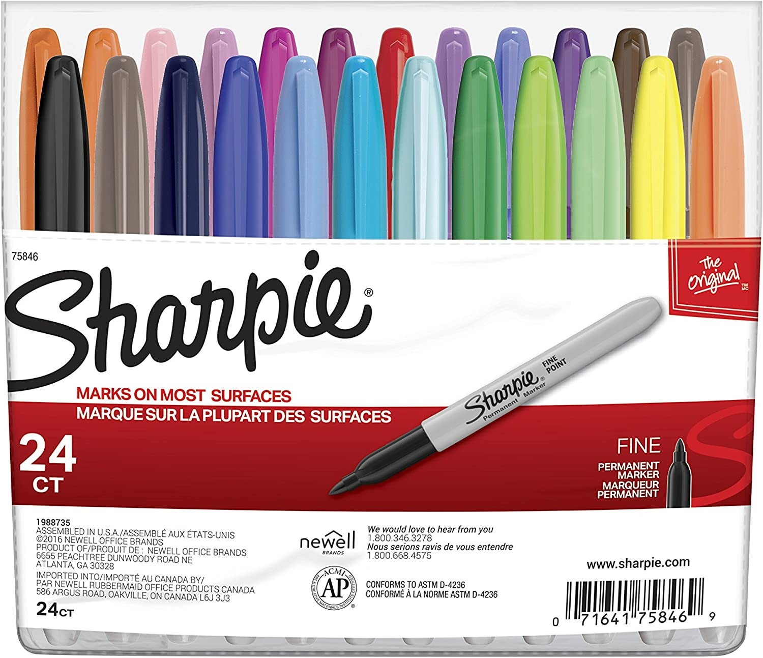 1 Sharpie Fine Point Black Permanent Markers 24 pack