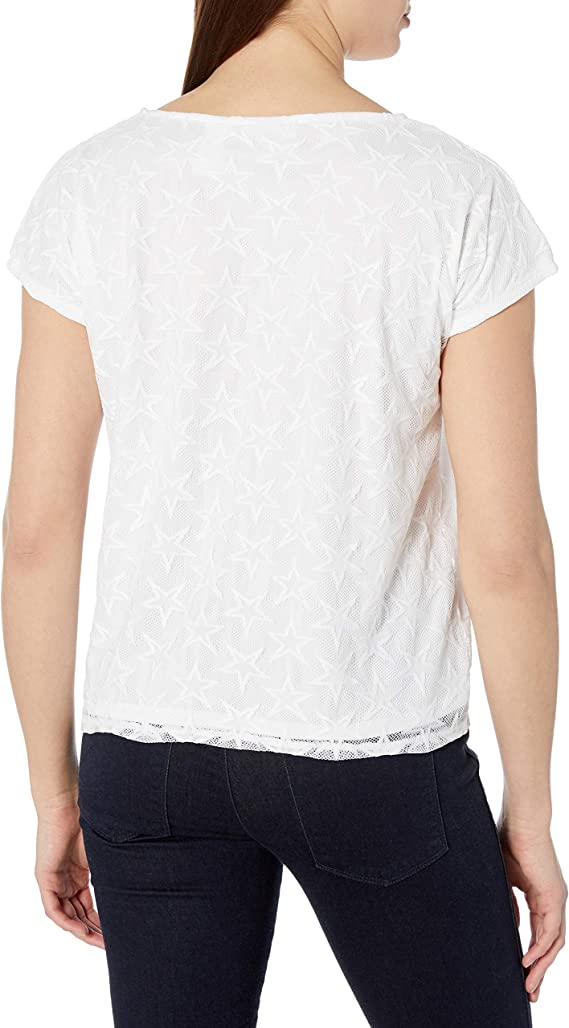 Alfred Dunner Womens Tie Front Stars Mesh Knit Top
