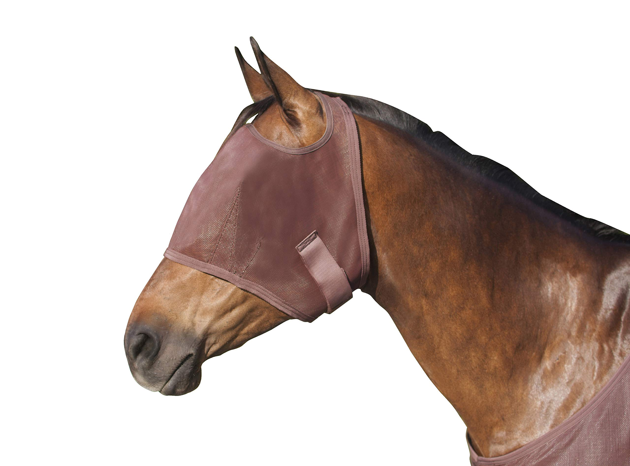 Kensington Natural Fly Mask with Web Trim - Protects Horses Face Eyes from Biting Insects and UV Rays While Allowing Full Visibility - Ears and Forelock Able to Come Through The Mask (Large, Bay) by Kensington Protective Products