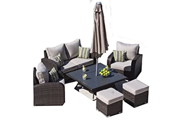 Rattan Sofa Und Kaffee Fire Pit Combo Windsor 13 Outdoor Garten Möbel  Garten/Wintergarten