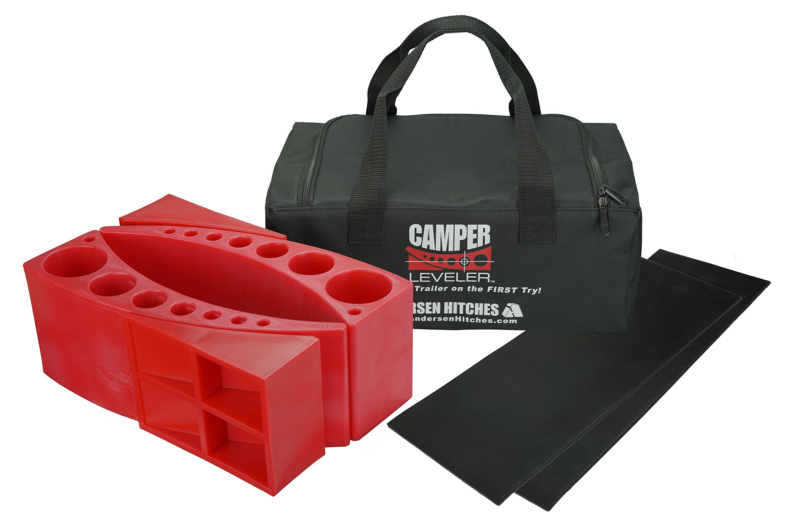 Andersen 2-Pack Camper Leveler Plus 2 Rubber Mats in Sturdy Carry Bag with Double Handles by Andersen Hitches
