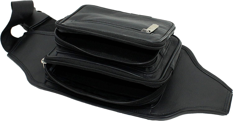 Starhide vera vita di qualit/à in pelle nera pacchetto viaggio cintura regolabile # 510 Nero Black marsupio
