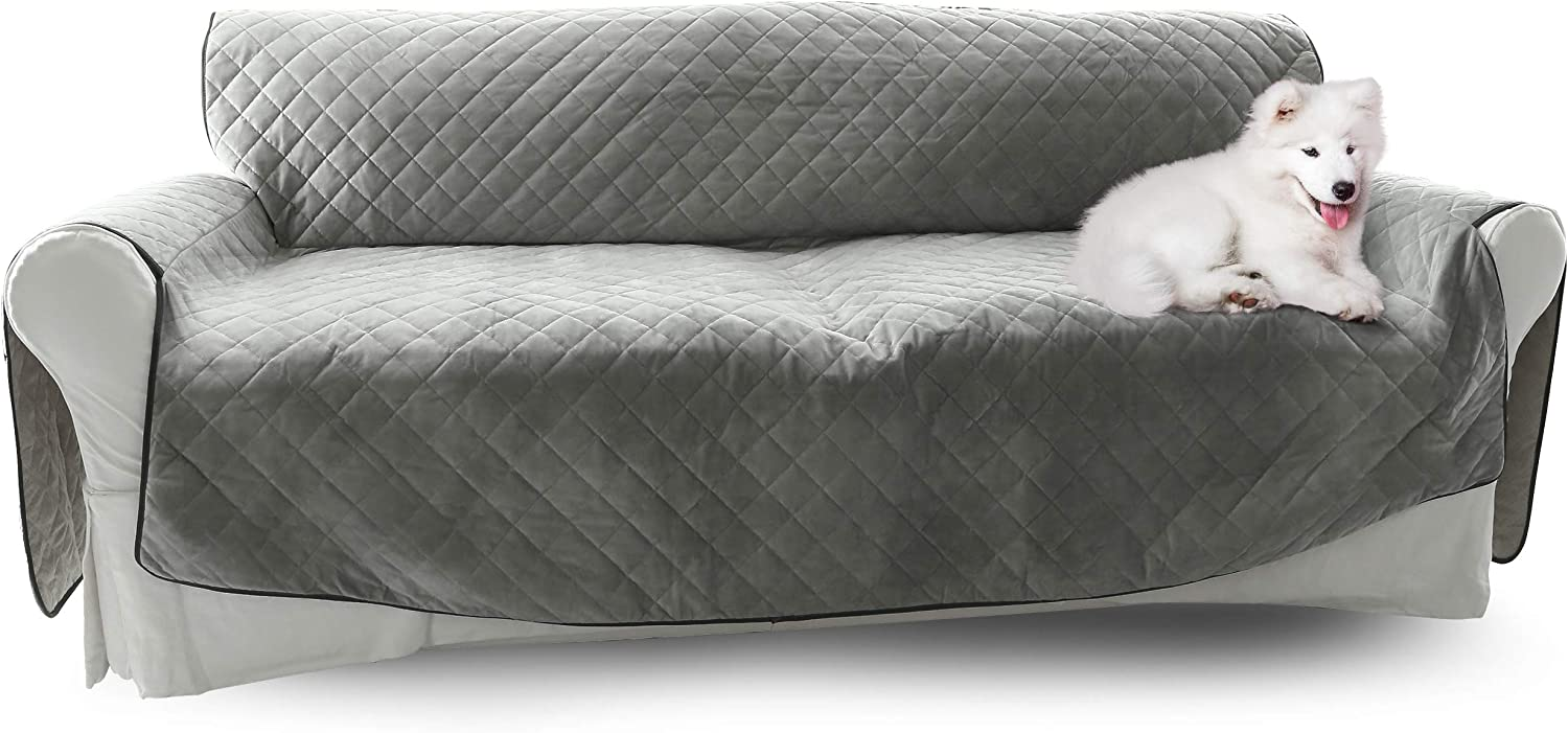 Sofa Cover for Dogs - Premium Couch Cover - Color Options - Waterproof Sofa Cover - 5 Pockets Silicone - Non-Slip Bottom - Anchors - Adjustable - Velvet Pet Furniture Protector - Luxury Softness