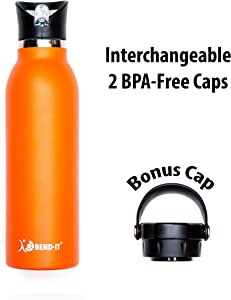 Bend-It The Coldest Water Bottle, Best Original Stainless Steel Sports Water Bottle with Straw - Premium Quality - BPA Free - Dishwasher Safe