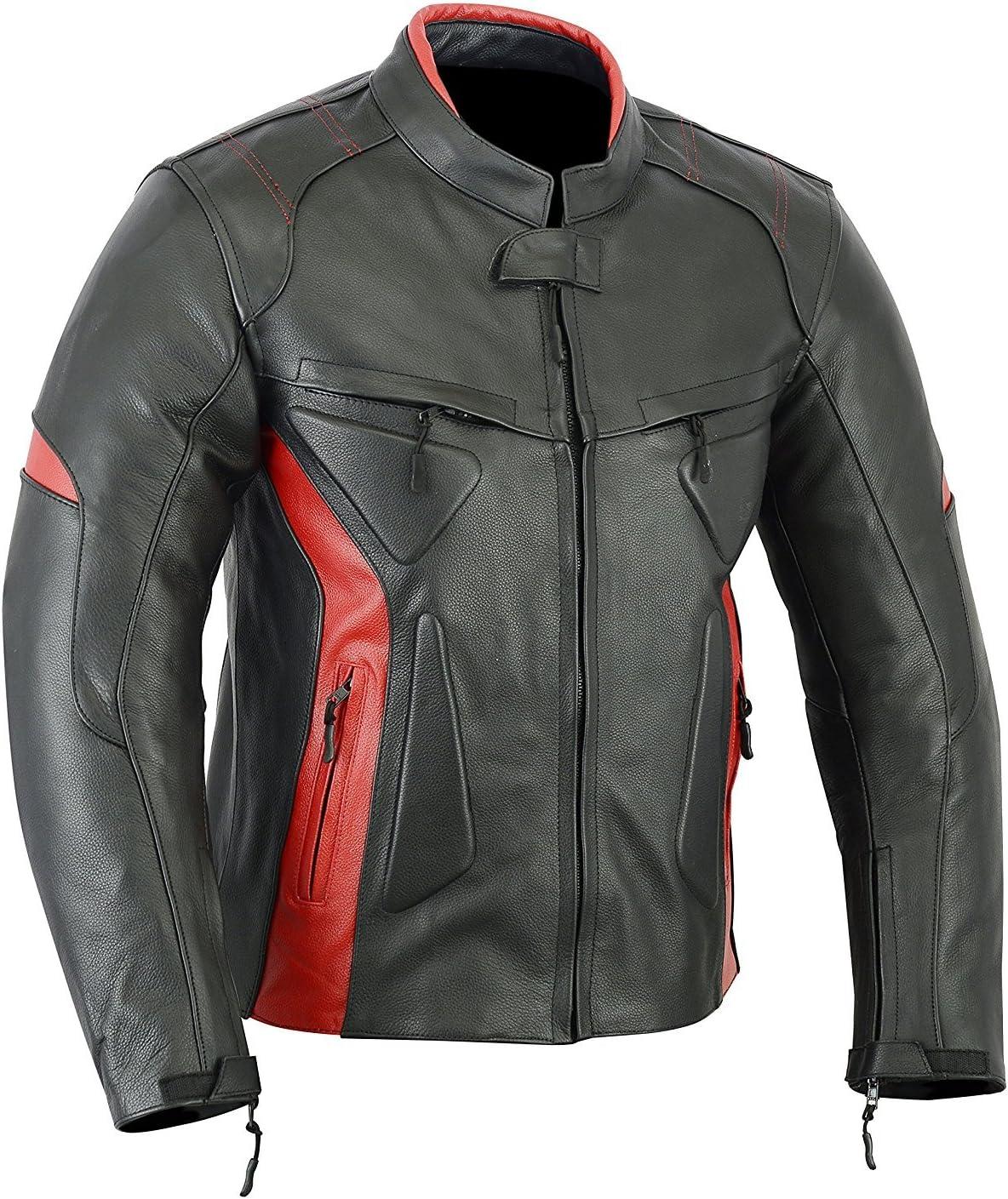 LJ-1704 Noir et rouge En cuir Veste haute protection pour moto//sports