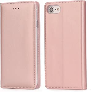 iPhone 8 Plus Leather Case, iPhone 7 Plus 5.5 Inch Folio Leather Wallet Case with Kickstand, Card Slots, Ultra-Strong Magnetic Closure, Flip Notebook Cover Case for iPhone 7 Plus / 8 Plus (Rose Gold)