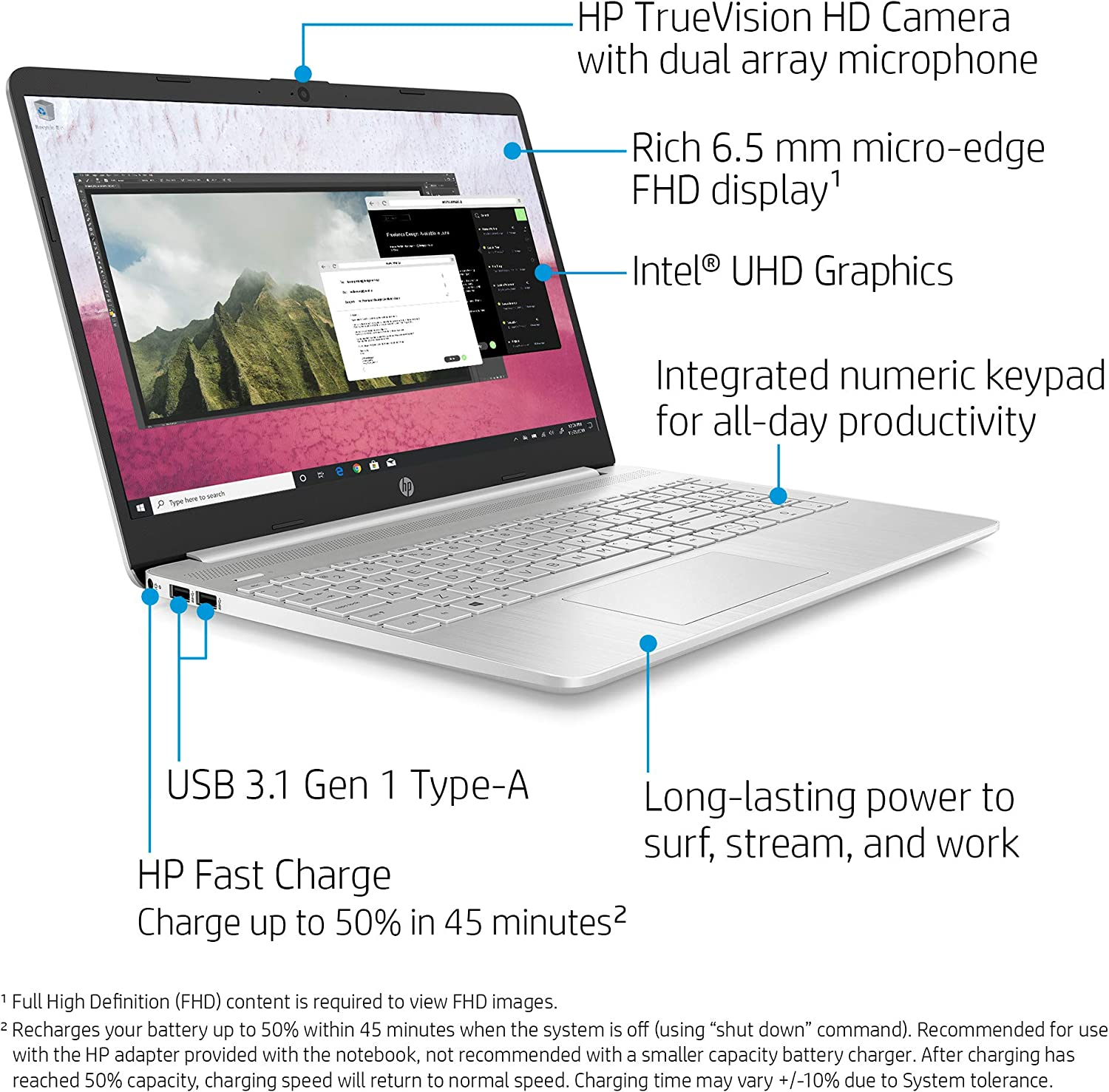 HP 15-dy1036nr 10th Gen Intel Core i5-1035G1, 15.6-Inch FHD Laptop, Natural Silver: Computers & Accessories