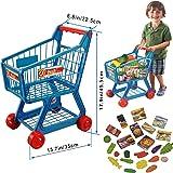 FunkyBuys® Blue Kids Children Boys/Girls Shopping Trolley (SI-TY1015) Cart w/ Fruits & Vegetables