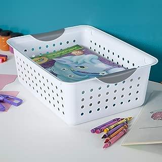 product image for Sterilite 16248006 Medium Ultra Basket, White Basket w/Titanium Inserts, 6-Pack