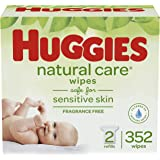 Huggies Natural Care Unscented Baby Wipes, Sensitive, 2 Refill Packs (352 Wipes)