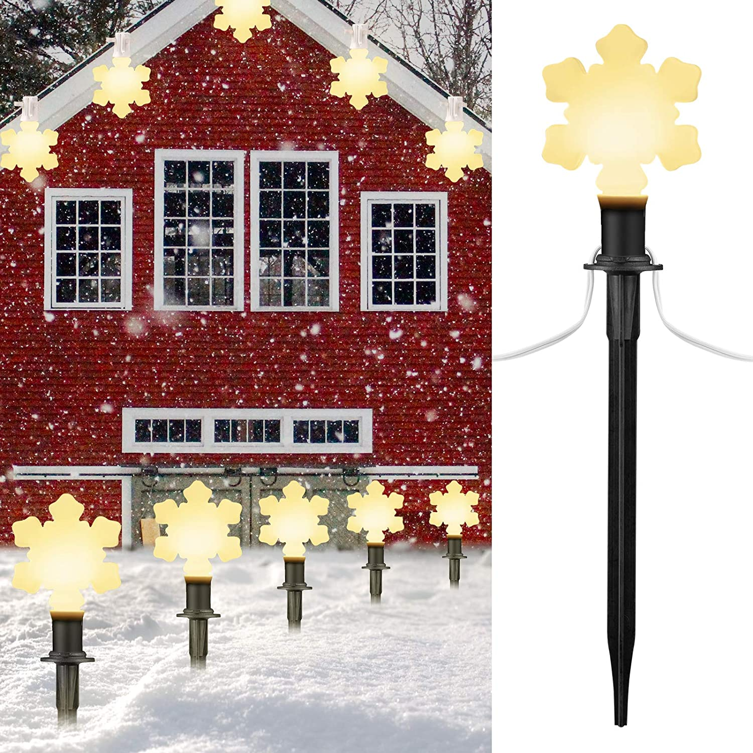 Snowflake Christmas Lights Outdoor Decorations Lawn with Pathway Marker Stakes, 7.16 Feet String Lights Covered Snowflake Light Bulb, for Holiday Time Outside Yard Garden Decor, 2 Pack, 10 Lights