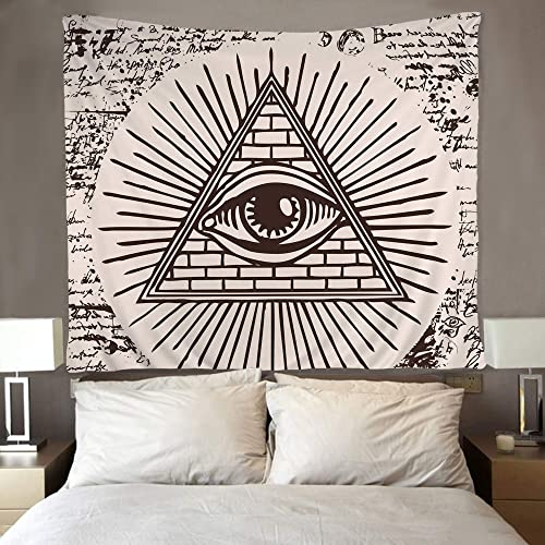 SARA NELL Tapestry All Seeing Eye of God Inside Triangle Pyramid Tapestries Hippie Art Wall Hanging Throw Tablecloth 60X90 Inches for Bedroom Living Room Dorm Room