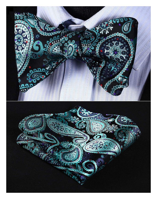 Enmain Men's Paisley Floral Bowtie Jacquard Woven Party Self Bow Tie Set BP923US-EN