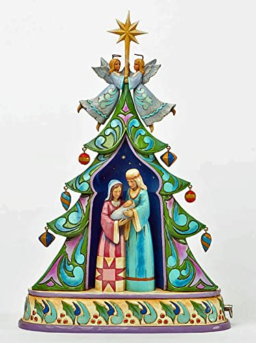 Jim Shore for Enesco Heartwood Creek Holy Family by Tree Masterpiece Musical Centerpiece, 11-Inch