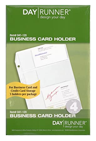 Day Runner Top-Loading Business Card Holder, Clear, 5.5 x 8.5 Inches (