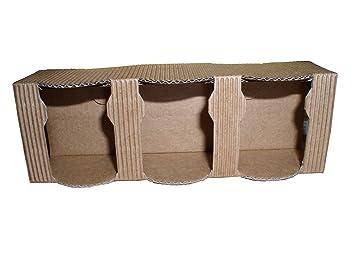 Caja Estuche de cartón para 3 macetas Miel de 50 g (Marrón ...