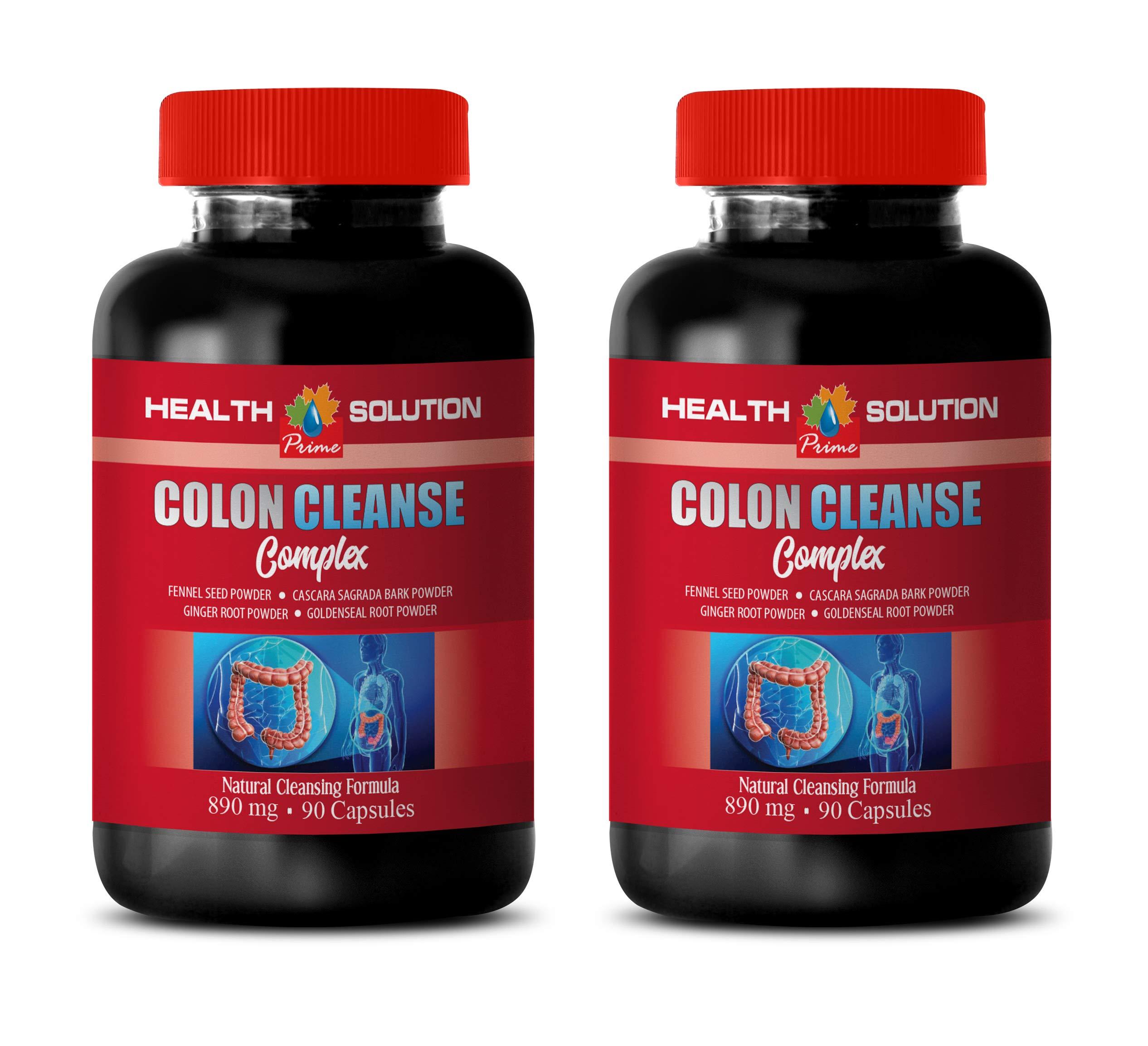 Colon Cleanse and Detox - Colon Cleanse Complex - psyllium Husk Sugar Free - 2 Bottles 180 Capsules