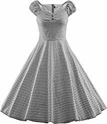 fca384eb2f Shengdilu Women s 1940s Vintage Flared Swing Skaters Dress Party Work