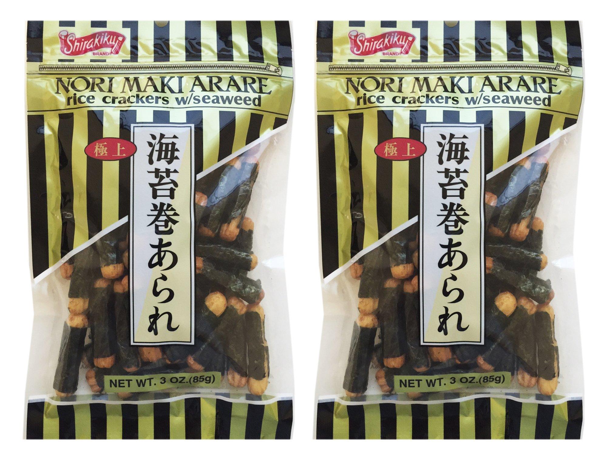 Japanese Shirakiku Nori Maki Arare Rice Crackers With Seaweed Snack 3oz (Pack of 2)