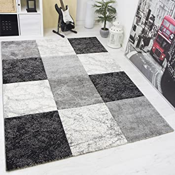 Moderner Designer Frisee Teppich Wohnzimmer Kariert mit Konturen