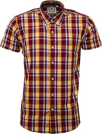 Mazeys Mens Green Checked 100/% Cotton Short Sleeved Shirts