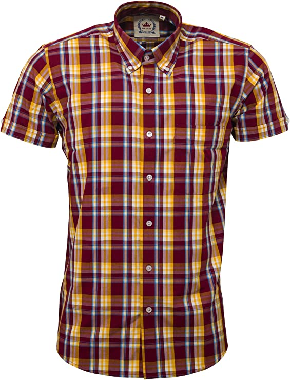 60s 70s Men's Clothing UK | Shirts, Trousers, Shoes Relco Mens Check Short Sleeve Shirt £31.99 AT vintagedancer.com