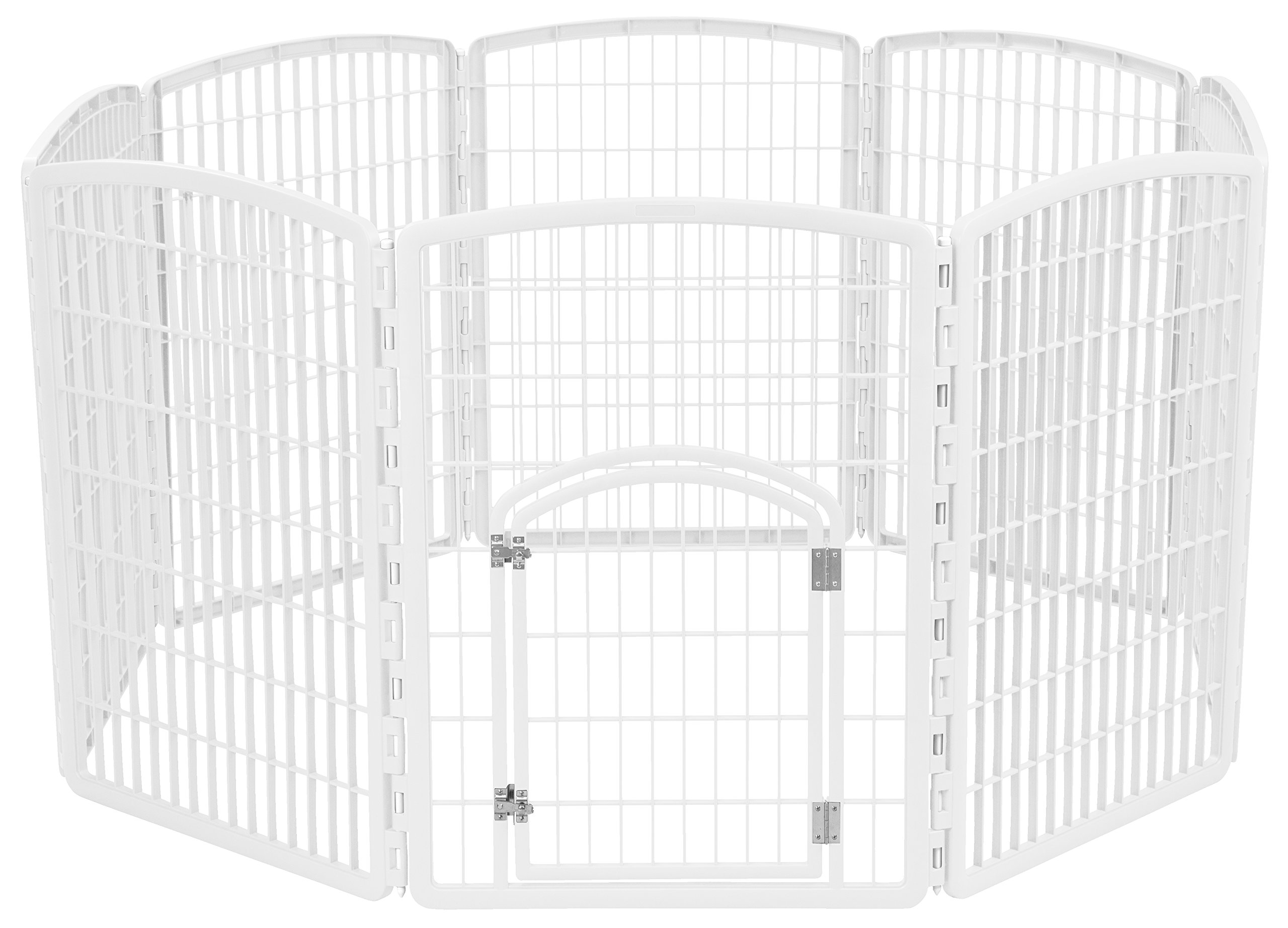 IRIS 34'' Exercise 8-Panel Pet Playpen with Door, White by IRIS USA, Inc.