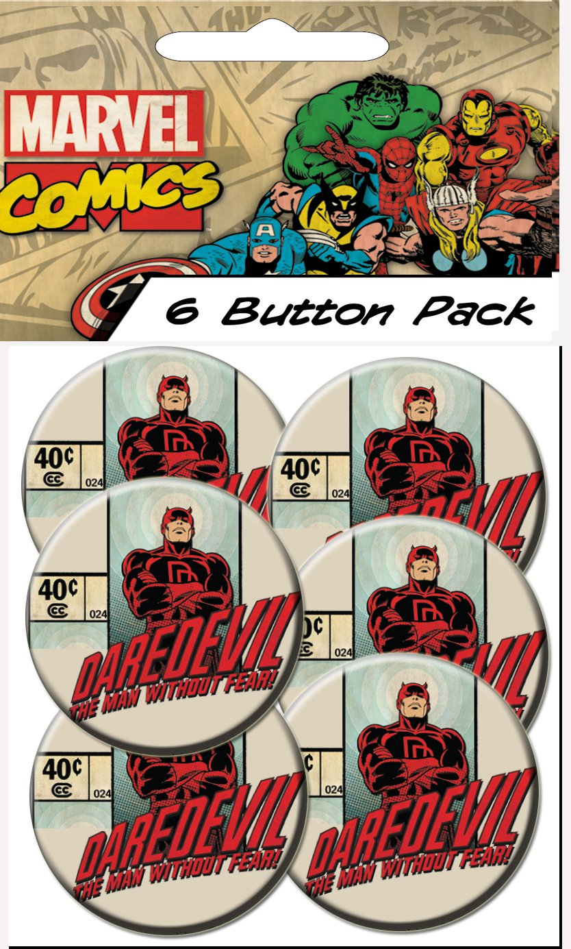 C D Visionary Marvel Comics Retro Daredevil Without Fear Prepack Buttons 6 Piece 1.25