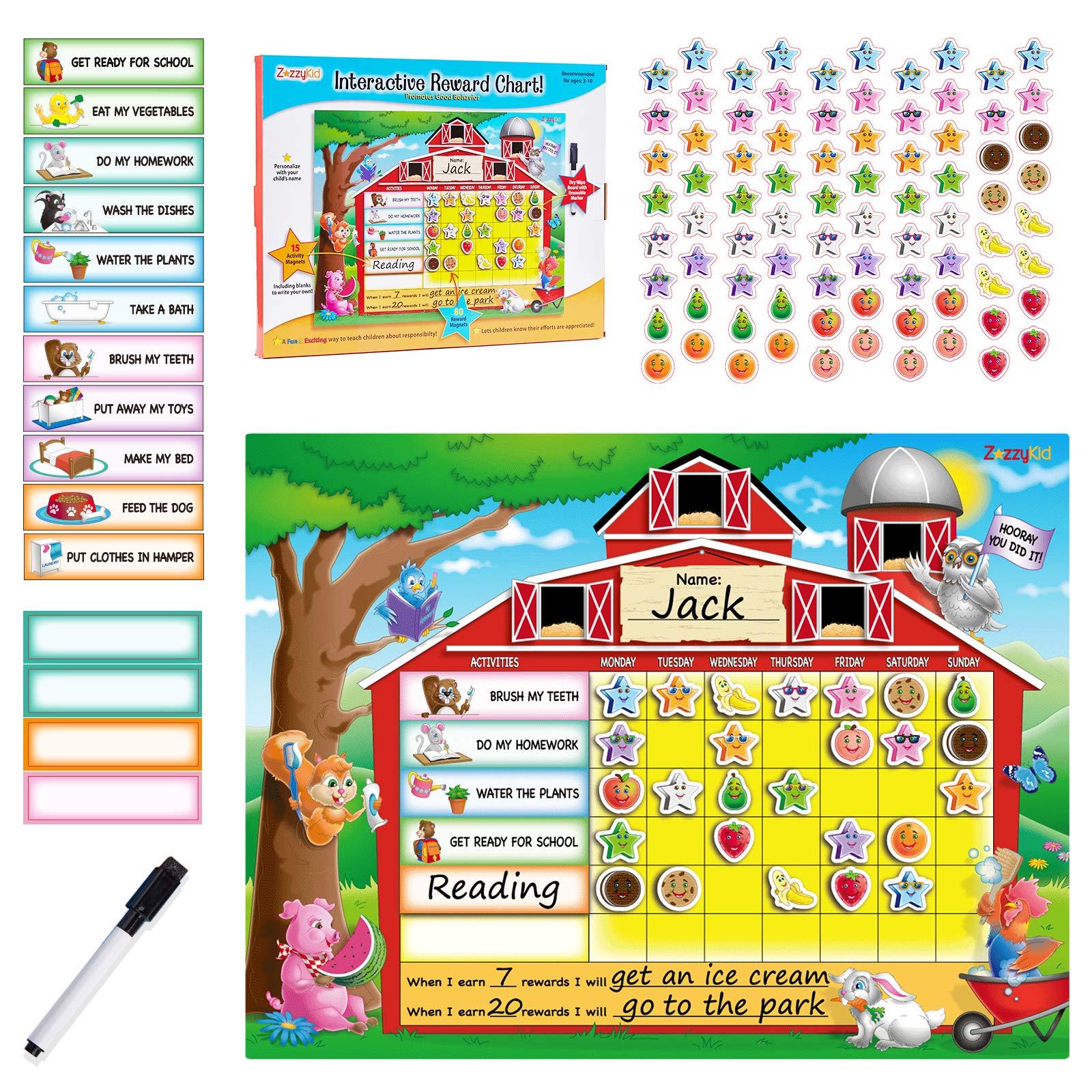 ZazzyKid Chore Chart for Kids with Reward Magnets & Dry Erase Marker