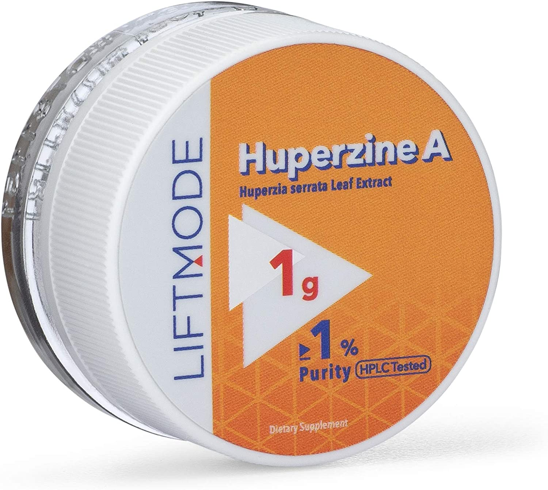 LiftMode Huperzine A Powder Supplement - Supports Focus & Cognition, Enhances Memory & Learning Ability, Huperzia Serrata Extract   Vegetarian, Vegan, Non-GMO, Gluten Free - 1 Gram (50 Servings)