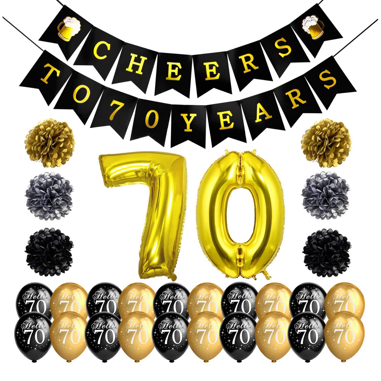 Howaf 70 Decoraciones de cumpleaños Negro y Dorado ...