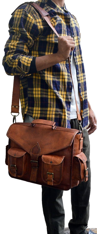 JAALD 38 cm echt Leder Laptoptasche Umh/ängetasche Schultertasche Kuriertasche FahrradTasche Schultasche Wasserdicht Vintage Herren Damen Geschenk XL Leather Messenger Bag