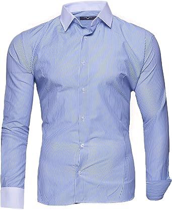 Kayhan Hombre Camisa Manga Larga Slim Fit S M L XL 2XL Modello - Rayas: Amazon.es: Ropa y accesorios