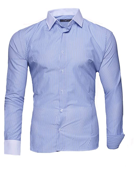 check out 5561d a820c Kayhan Herren-Hemd Gestreift Slim-Fit Langarm-Hemden S-2XL