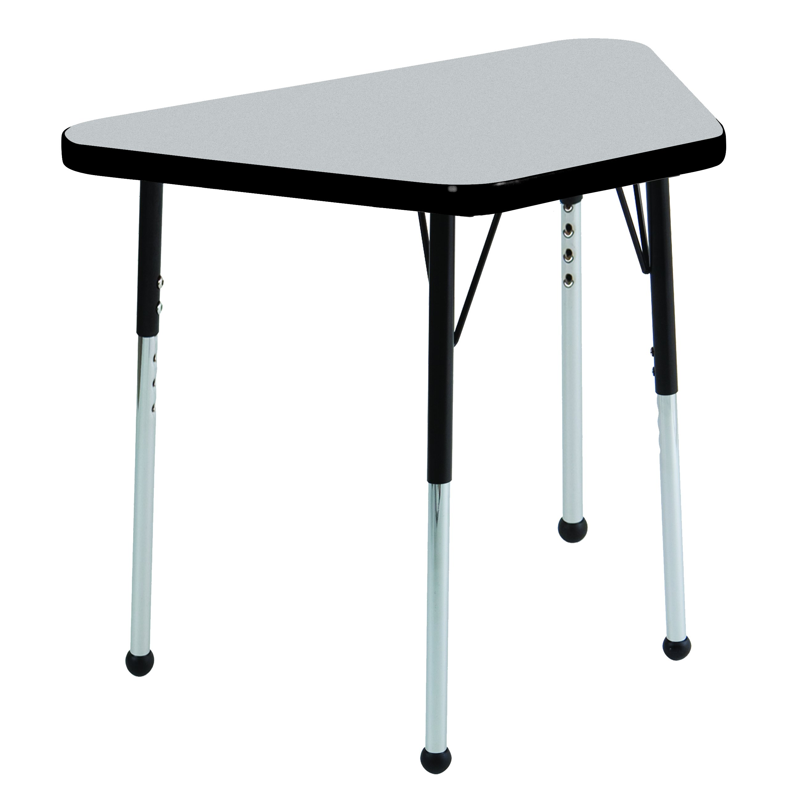 ECR4Kids Premium Thermo-Fused 18'' x 30'' Trapezoid School Activity Table, Standard Legs w/Ball Glides, Adjustable Height 19-30 inch (Grey/Black)