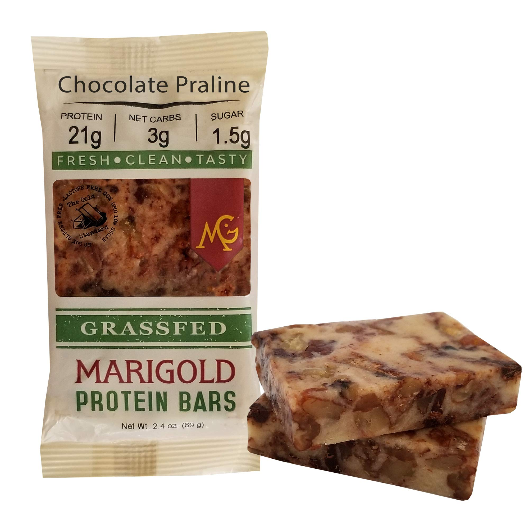 Keto (2-3 NET CARB) Protein Bar by MariGold - Amazing Taste Ketogenic Snacks - Organic Fats, 1 g Sugar, 21 g Protein GRASS FED Whey - Non GMO. Made Fresh, Ships Fresh. (12 bars) by MariGold Bars (Image #3)