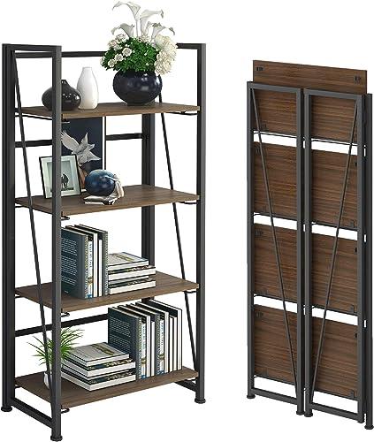 GHQME No-Assembly Folding Bookshelf Storage Shelves 4 Tiers Vintage Multifunctional Plant Flower Stand Storage Rack Shelves Bookcase - a good cheap modern bookcase