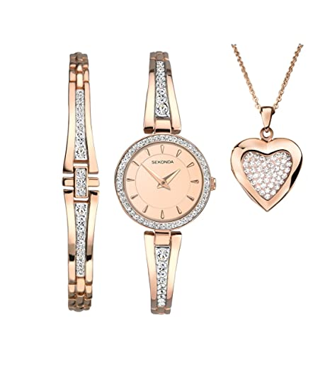 ff3475d2a3d4a SEKONDA Womens Analogue Classic Quartz Watch with Rose Gold Strap 2533G.89:  Amazon.co.uk: Watches