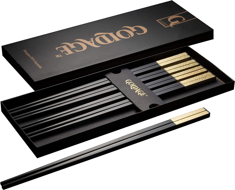 Goldage 5-Pairs Fiberglass Dishwasher-safe Chopsticks - Sunset Glow (Gold)